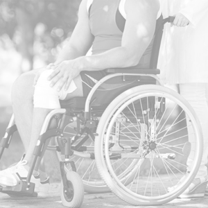 Sports person in a wheelchair suffering from a knee injury
