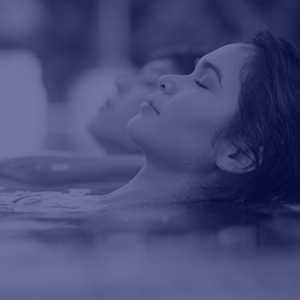Woman relaxing in hydrotherapy bath